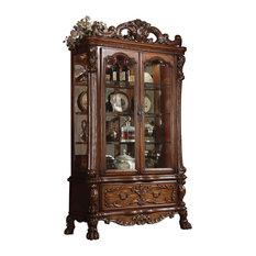 ACME Dresden Curio Cabinet, Cherry Oak