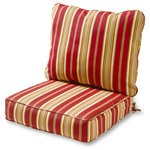 Greendale Home Fashions - Outdoor 2-Piece Deep Seat Cushion Set, Roma Stripe - Refresh a tired patio chair or recliner with the Cushions in roma stripe. This set comprises a comfy seat cushion and back pillow with durable polyester covers and plush recycled plastic filling. This item pushes the boundaries of contemporary style with aesthetically pleasing function. Each individual piece is crafted from the finest materials for uncompromising quality and longevity.