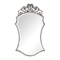 Classic Romantic French Country Ornate Iron Wall Mirror | Lavish Scroll Shaped