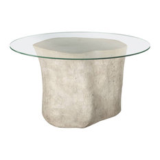 36-inchLong Dining Table Log Base 60-inch Glass Top Roman Stone Resin Composite 718