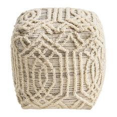 Poppy Boho Wool and Cotton Ottoman Pouf, Gray, Ivory
