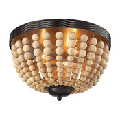 Helene 3-Light Flushmount, Oil Rubbed Bronze and Natural Wood