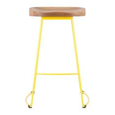 Stockholm Stool, Wood Top, Metal Base, Yellow
