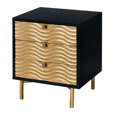 Unique Nightstand 3 Storage Drawers With Wavy Recessed Front Black-Gold