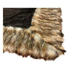Brown Shag Faux Fur Area Rug - Brown Ribbed Fox Border Handmade Fur Accents USA
