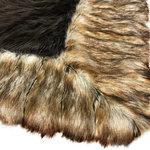 Fur Accents - Brown Shag Faux Fur Area Rug - Brown Ribbed Fox Border Handmade Fur Accents USA, - FUR ACCENTS llc