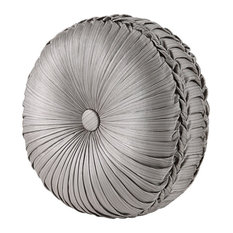 """Carly Tufted Round Pillow, Silver, 15""""x4"""""""