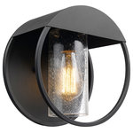 Globe Electric - Neruda Black Outdoor Indoor Wall Sconce, Seeded Glass Shade - Picking great lighting for your space can sometimes be tricky but with a trendy modern design and seeded glass shade, the Neruda Outdoor Wall Sconce provides a perfect finishing touch. Complemented by a matte black finish, the striking cutout design is a unique feature that sets your home apart from all the other houses on the block. Sitting at 9-inches wide, it's the perfect size to place on a balcony wall or to place on either side of an entrance way. But you can also use this sconce inside your home to add a modern vintage accent. Place it on either side of your bed or in your kitchen to bring an air of drama to your room.