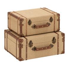 Woodland Imports   Set 2 Travel Case Boxes Burlap Lining Leather Metal Trim  Nostalgic Decor