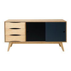 SoSixties Sideboard, Oak, Black and Anthracite, Large