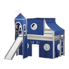 Jackpot Castle Low Loft Bed, Gray With Slide, Blue and White Tent and Tower