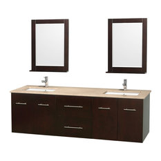 "Centra 72"" Espresso Double Vanity, Ivory Marble Top, Undermount Square Sinks"
