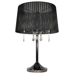 Crystal Table Lamp, Black and Black Chrome
