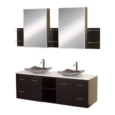 "Avara 60"" Double Espresso Vanity, White Top, Black Granite Sinks, Med Cabinets"