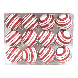 Red And White Ball Ornament With Line Design 12 Pack