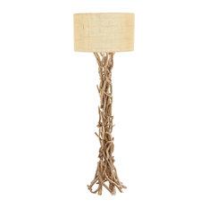 Beige Wood Rustic Floor Lamp, 62x22x22