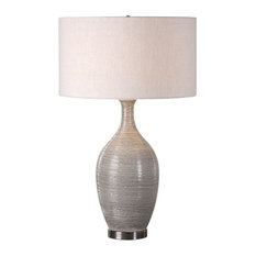 Elegant Textured Gourd Shaped Table Lamp, Gray Brown Earth Tones