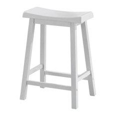 Saddle Seat Stools, Set of 2, White, Counter Height