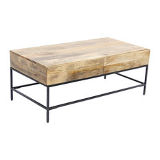 Mango Wood Coffee Table With 2 Drawers Brown And Black by Benzara Woodland Imprts The Urban Port