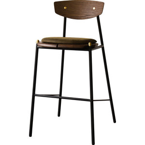 Kink Bar Stool in Solid French Oak and Jin Green Leather by Nuevo
