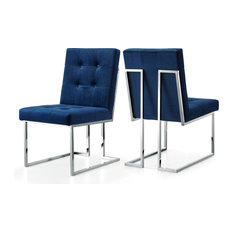 Meridian Furniture Usa Alexis Velvet Dining Chair Navy Set Of 2 Dining