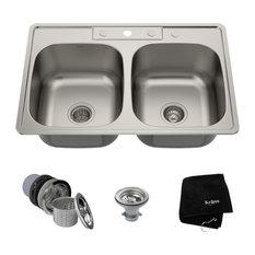 "33"" Drop-In Topmount Stainless Steel Kitchen Sink, 50/50 split Double Bowl"