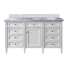 Brittany 60-inch Vanity Cottage White 4cm Carrara White Marble Top