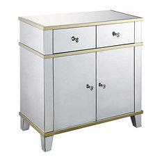 Fully Mirrored Wooden Console Table With Two Drawers And One Cabinet Silver