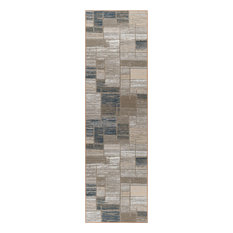 Jody Contemporary Abstract Taupe Non-Skid Runner Rug, 2' x 11'