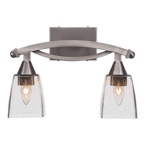 """Bow 2-Light Bath Bar, Brushed Nickel Finish, 4.5"""" Clear Bubble Glass"""