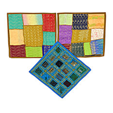 Mogul Interior - India Decor Toss Pillow Shams, 3 Vintage Patchwork Embroidered Sari - Pillowcases And Shams