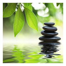 """Zen Stones Pyramid on Water"" Aluminum Wall Art by Aluminyze, 24x24"
