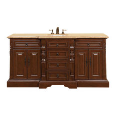 "72"" Traditional Single Sink Bathroom Vanity, Travertine Top, Distressed Finish"