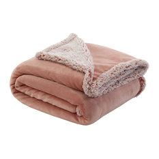 Amarey Flannel Reversible Sherpa Throw, Blush