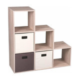 Modern Storage Organiser, MDF With 3-Compartment and 3 Removable Drawers, Oak