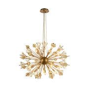 Starburst Atomic 24-Light Matte Gold Finish Clear Crystal Sputnik Chandelier