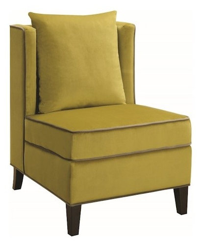 Superb Contemporary Accent Chair With Contrast Piping, Chartreuse