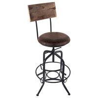 Damian Bar Stool, Adjustable, Industrial Charcoal Gray, Brown