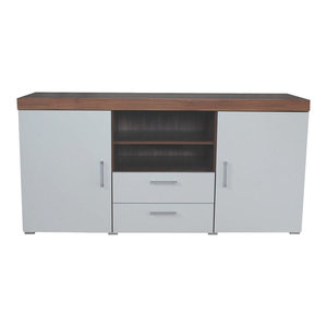 Modern Sideboard, White Finished Wood With Walnut Top With Doors and Drawers
