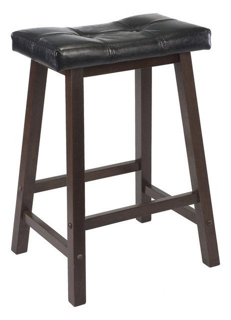 Winsome Mona 24 Quot Cushion Saddle Seat Stool Black Faux