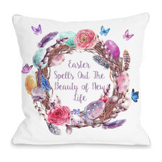 """""""Easter New Life Wreath"""" Indoor Throw Pillow by OneBellaCasa, 16""""x16"""""""