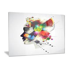 """Woman Abstract Profile"" Abstract Glossy Metal Wall Art, 28""x12"""