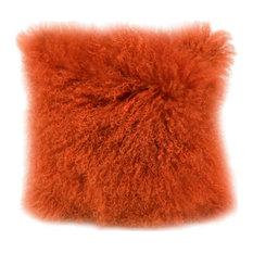 Lamb Fur Pillow, Orange