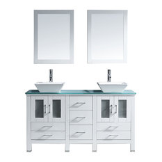 60-inch Double Bath Vanity In WhiteAqua Tempered Glass TopSinkFaucetMirrors