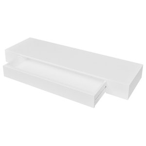 VidaXL White MDF Floating Wall Display Shelf 1-Drawer Book/DVD Storage