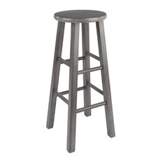 Winsome Ivy 29-inch Transitional Solid Wood Bar Stool In Rustic Gray