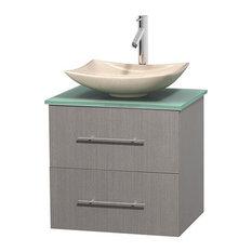 24 in. Single Bathroom Vanity in Gray Oak, Green Glass Countertop, Arista Ivory