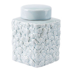 Shells Small Covered Jar Blue