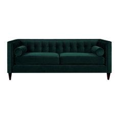 """Jack 84"""" Modern Tuxedo Tufted Sofa, Hunter Green Velvet"""