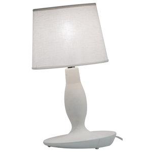 Norma Matte White Ceramic Table Lamp, Small
